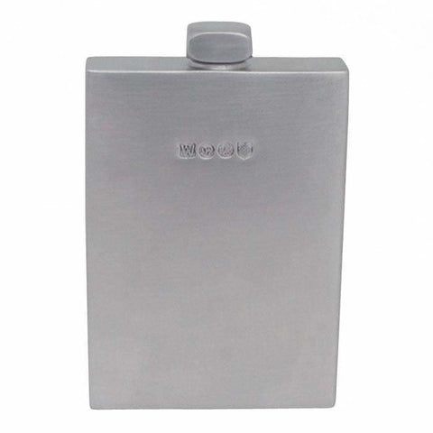 6Oz Premier Pewter Hip Flask With Cubic Sateen Finish Hip Flask 6 Ounce 6Oz Anniversary Badge-New Best-Man Buyahipflask.com