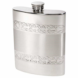 6Oz Premier Pewter Hip Flask With Embossed Celtic Bands Hip Flask 6 Ounce 6Oz Anniversary Birthday Buyahipflask.com Buyahipflask.com