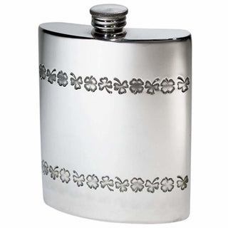 6Oz Premier Pewter Hip Flask With Irish Shamrock Design Hip Flask 6 Ounce 6Oz Anniversary Birthday Buyahipflask.com Buyahipflask.com