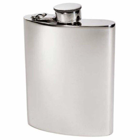 6Oz Premier Plain Pewter Hip Flask Hip Flask 18 18Th 21 21St 6 Ounce Buyahipflask.com 6Oz-Heritage-Plain-Pewter-Hip-Flask Free Shipping