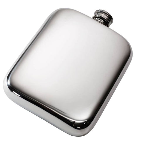 6Oz Premier Plain Pewter Pocket Flask Hip Flask 18 18Th 21 21St 6 Ounce Buyahipflask.com 6Oz-Heritage-Plain-Pewter-Pocket-Flask Free