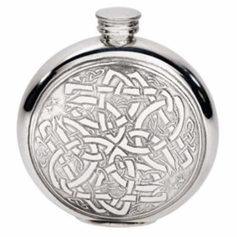 6Oz Premier Round Pewter Flask With Celtic Circle Design Hip Flask 18 18Th 21 21St 6 Ounce Buyahipflask.com
