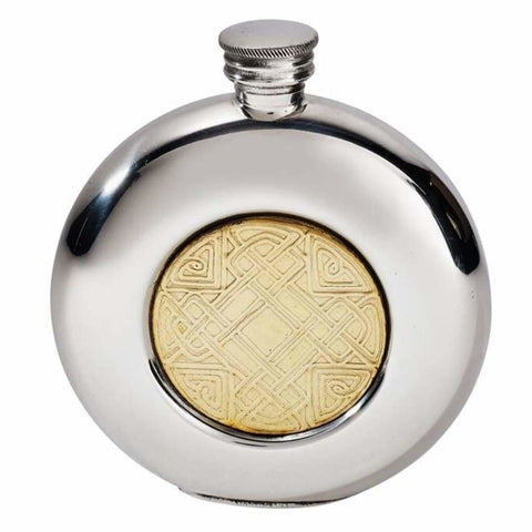 6Oz Premier Round Pewter Flask With Gold Celtic Design Hip Flask 18 18Th 21 21St 6 Ounce Buyahipflask.com