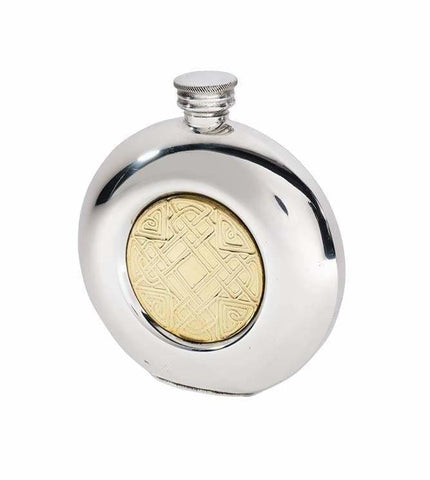 6Oz Premier Round Pewter Flask With Gold Celtic Design Hip Flask 6 Ounce 6Oz Badge-Bestseller Badge-New Birthday Buyahipflask.com