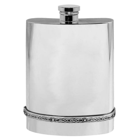6oz Traditional Pewter Hip Flask With Celtic Band Hip Flask 6 ounce, 6oz, anniversary, badge-bestseller, birthday buyahipflask.com