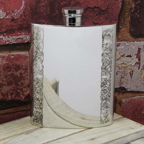 6Oz Traditional Pewter Hip Flask With Celtic Edge Design Hip Flask 3 Ounce 3Oz 4 Ounce 4Oz 6 Ounce Buyahipflask.com