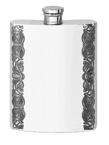 6oz Traditional Pewter Hip Flask With Celtic Edge Design Hip Flask 3 ounce, 3oz, 4 ounce, 4oz, 6 ounce buyahipflask.com
