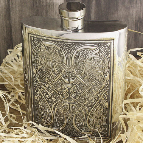 6oz Traditional Pewter Hip Flask With Celtic Knot Design Hip Flask 4 ounce, 4oz, 6 ounce, 6oz, anniversary buyahipflask.com