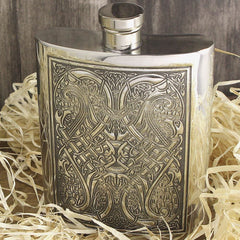 6oz Traditional Pewter Hip Flask With Celtic Knot Design