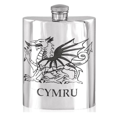 6Oz Traditional Pewter Hip Flask With Cymru Dragon Design Hip Flask 18 18Th 21 21St 6 Ounce Buyahipflask.com