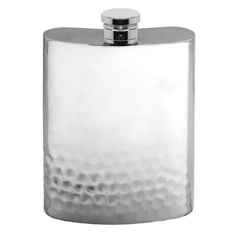 6oz Traditional Pewter Hip Flask With Half Hammered Design Hip Flask 4 ounce, 4oz, 6 ounce, 6oz, anniversary buyahipflask.com