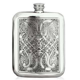 6Oz Traditional Pewter Pocket Flask With Celtic Design Hip Flask 6 Ounce 6Oz Anniversary Badge-Bestseller Best-Man Buyahipflask.com