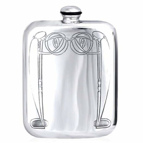 6Oz Traditional Pewter Pocket Flask With Mackintosh Design Hip Flask 6 Ounce 6Oz Anniversary Best-Man Birthday Buyahipflask.com