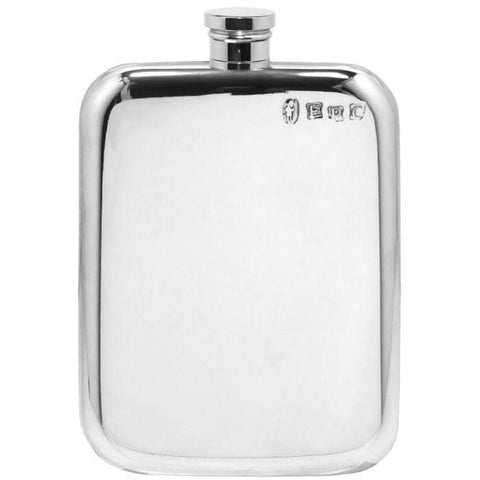 6oz Traditional Plain Stamped Pewter Pocket Flask Hip Flask 4 ounce 4oz 6 ounce 6oz anniversary buyahipflask.com