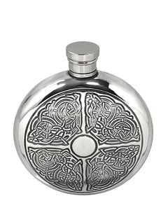 6oz Traditional Round Pewter Flask With Celtic Knot Design Hip Flask 6 ounce, 6oz, anniversary, buyahipflask.com, celebration