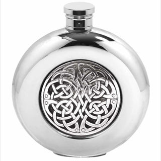 6Oz Traditional Round Pewter Flask With Celtic Knot Design Hip Flask 4 Ounce 4Oz 6 Ounce 6Oz Anniversary Buyahipflask.com