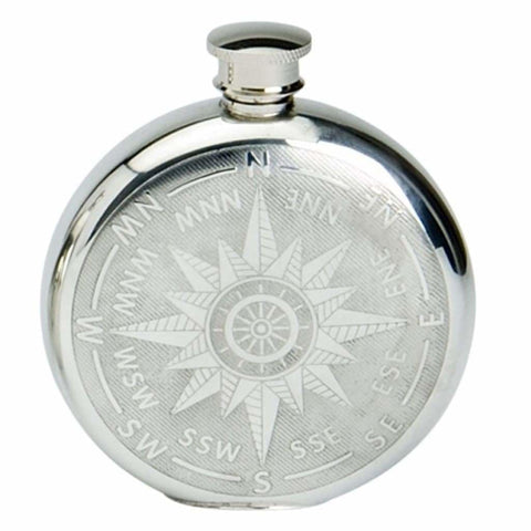 6Oz Traditional Round Pewter Flask With Compass Design Hip Flask 6 Ounce 6Oz Anniversary Buyahipflask.com Celebration Buyahipflask.com