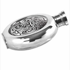 6oz Traditional  Round Pewter Flask With Kells Design