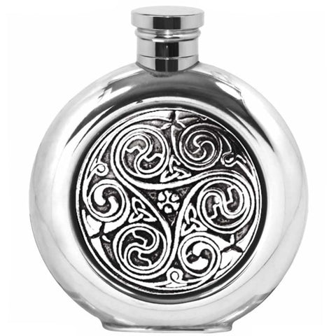 6Oz Traditional Round Pewter Flask With Kells Design Hip Flask 4 Ounce 4Oz 6 Ounce 6Oz Anniversary Buyahipflask.com