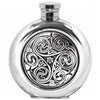 Image of 6oz Traditional Round Pewter Flask With Kells Design Hip Flask 4 ounce, 4oz, 6 ounce, 6oz, anniversary buyahipflask.com