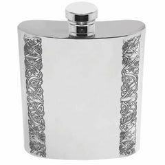 8oz Traditional Pewter Hip Flask With Celtic Edge Design