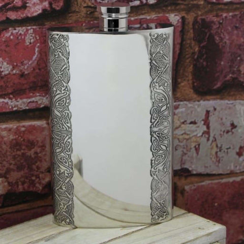 8Oz Traditional Pewter Hip Flask With Celtic Edge Design Hip Flask 4 Ounce 4Oz 8 Ounce 8Oz Anniversary Buyahipflask.com