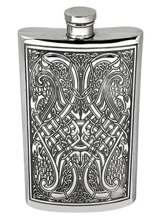 8oz Traditional Pewter Hip Flask With Celtic Knot Design Hip Flask 4 ounce, 4oz, 8 ounce, 8oz, anniversary buyahipflask.com