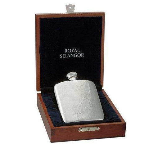 Polished 5oz Pewter Hip Flask in Wooden Gift Box with Funnel Hip Flask 5 ounce 5oz anniversary badge-new best-man buyahipflask.com