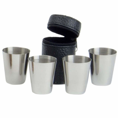 Set of 4 Stainless Steel Nip Cups with Faux Leather Zip Case Hip Flask accessory badge-bestseller buyahipflask.com case cup buyahipflask.com