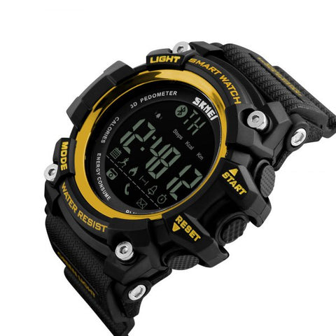 Bluetooth Smart Pedometer Sports Electronic Watch - Golden