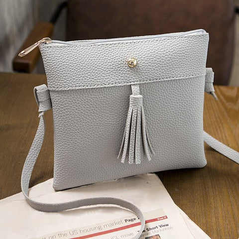 Leather Cross Body Bag - Gray