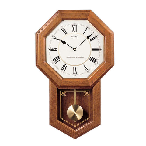 CHIME SCHOOLHOUSE WALL CLOCK WITH PENDULUM