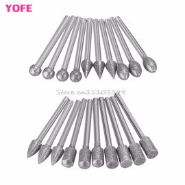 20Pcs 3mm Shank Diamond Grinding Burr Drill Bits Sets For Dremel Rotary Tools G08 Drop ship