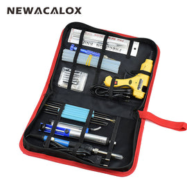 NEWACALOX 12-in-1 Set EU 220V 60W DIY Adjustable Electric Soldering Iron Welding Kit Screwdriver Glue Gun Repair Carving Knife