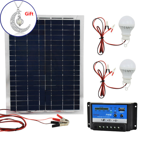 20W 12V Polysilicon Silicon Solar Panel+ PWM 10A Charge Controller Battery Charger Kit +2 LED Light For RV Car Boat Tourism