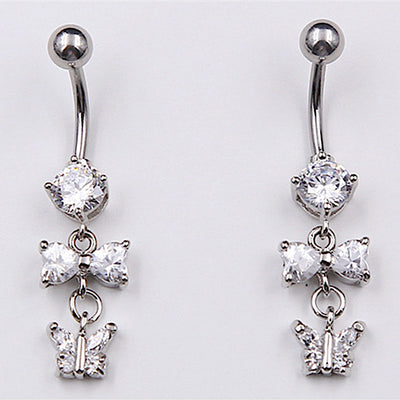 piercing nombril papillon argenté