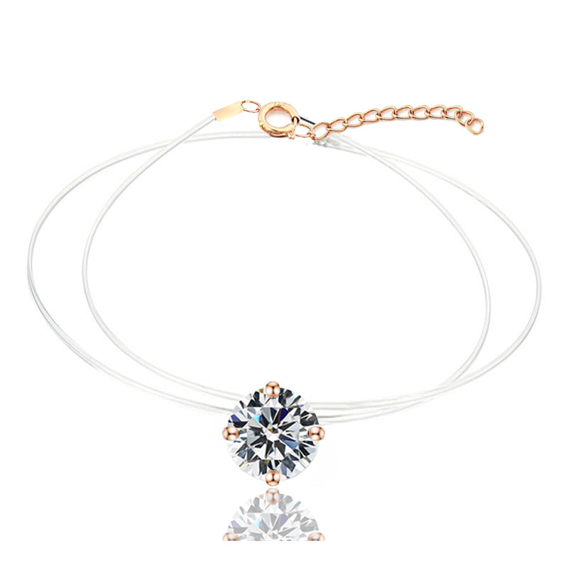 Collier Lucy™ Or Rose Strass
