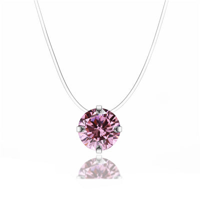 Collier invisible avec diamant rose