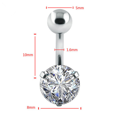 piercing nombril diamant acier inoxydable