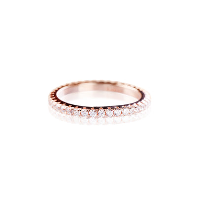 Bague fine or rose brillant