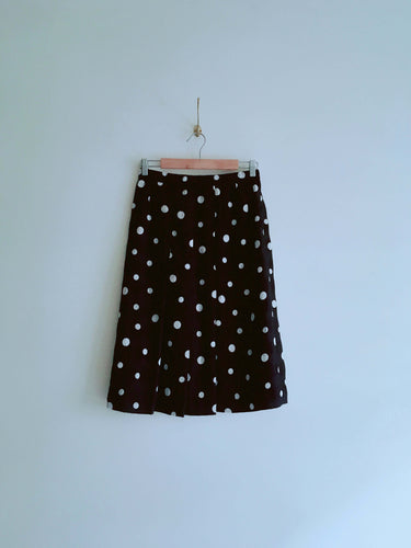 Black and White Dotted Pleated Skirt