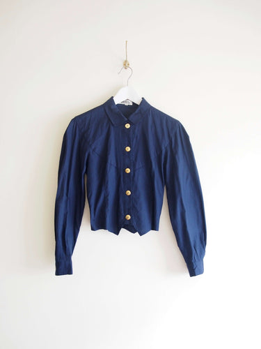 Navy Cropped Cotton Jacket