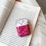 Lucid Cases AirPodsCase Red Luxury Glossy Marble AirPods Case