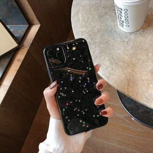 Lucid Cases for iphone 8 / Black Glitter Stars - Soft iPhone Case