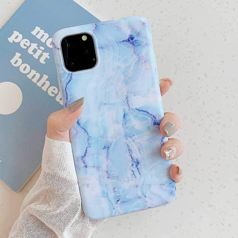 Lucid Cases iPhone Case 11 / Blue Glossy Granite - Soft iPhone Case