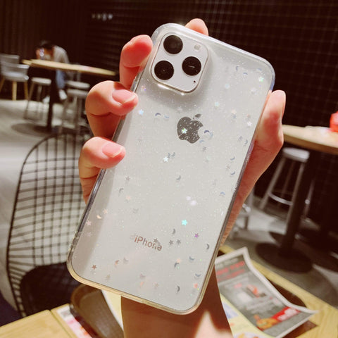 Lucid Cases iPhone Case 11 Pro Max / White Moon Sparkle - Soft iPhone Case