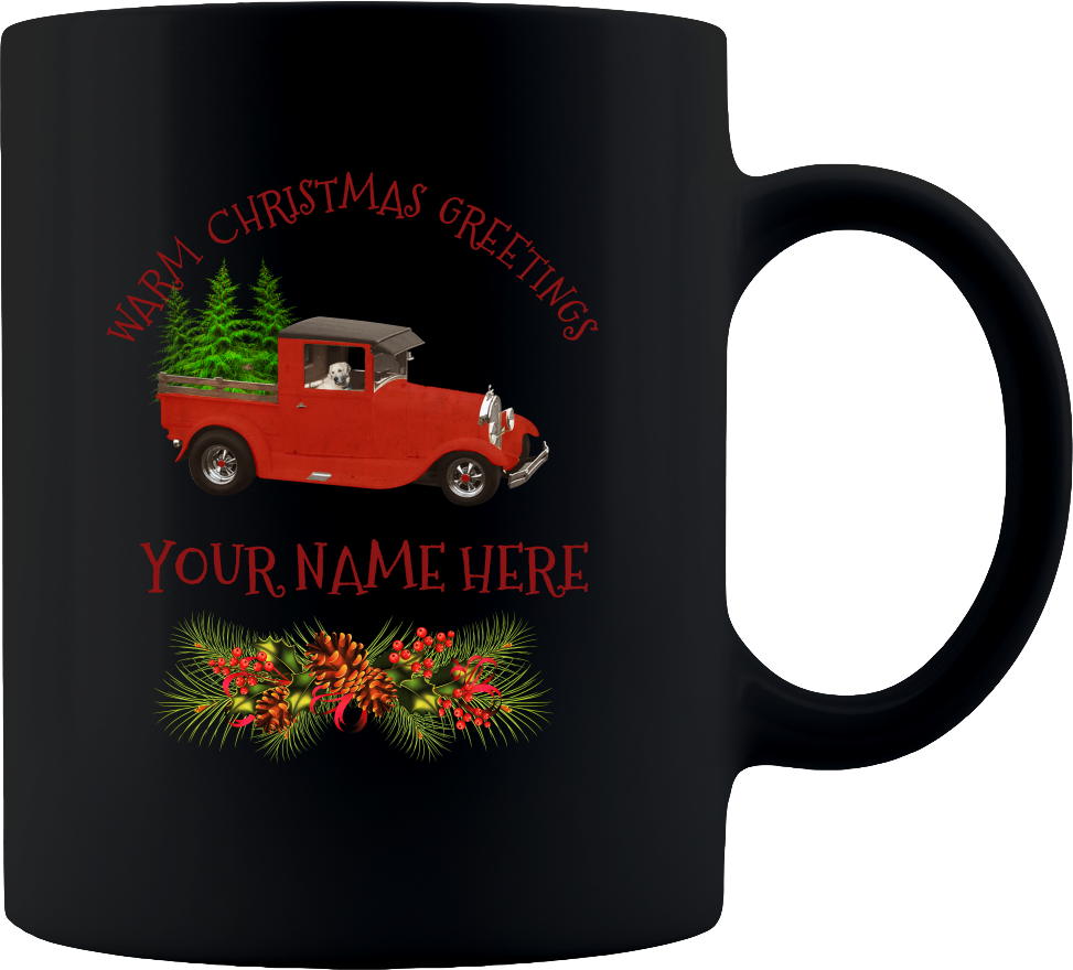 Warm Christmas Greetings Mug - Coffee Mug 11oz - Black Sublimated Only