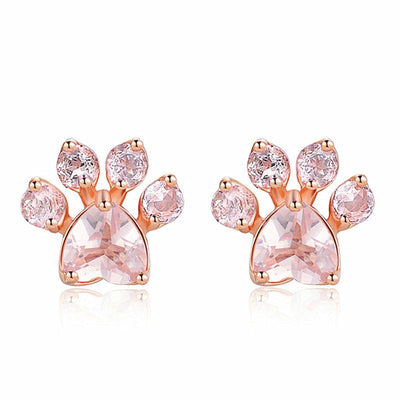 Ligero Rose Paw Print Earrings -Cubic Zirconia