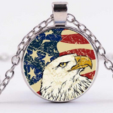 Sale! $9.99  Cabochon Eagle /USA Flag Necklace