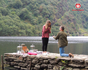 Romantic Picnic Proposal at the scenic location of Glendalough Upper Lake captured by the Romance Engineers Irelands premium proposal planners